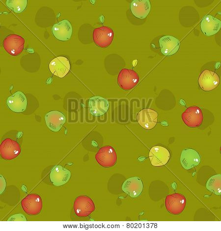 Seamless pattern of appetizing apples