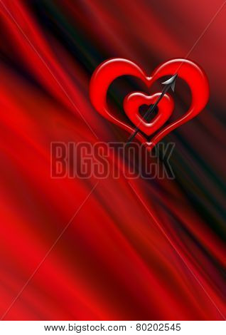 Two red heart pierced by an arrow on wavy black red background