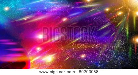 pace Background with planets, stardust and meteorites