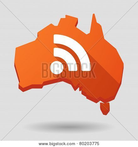 Australia Map Icon With A Rss Sign