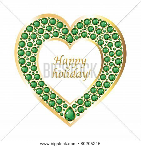 Heart Of Emeralds In A Gold Frame Vector Card