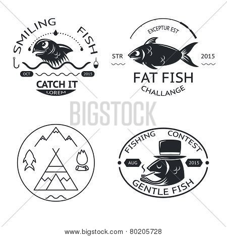 Fishing emblems labels elements logos icons set isolated concept template vector illustration