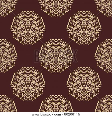 Wallpaper in the style of Baroquen. Abstract Vector Background with Brown and Golden Colors