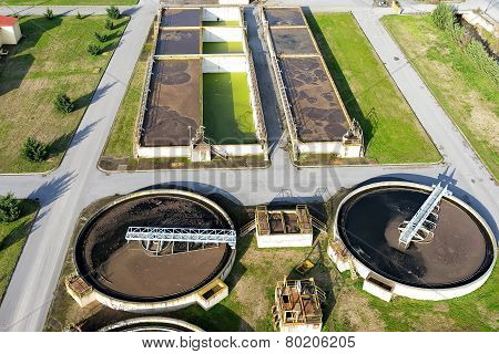 Aerial View Of Giannitsa City Sewage Treatment Plant