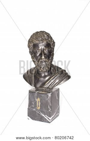 Bust Of Roman Emperor Marcus Aurelius On A White Background