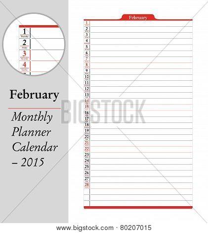 February, Montly Planner Calendar - 2015