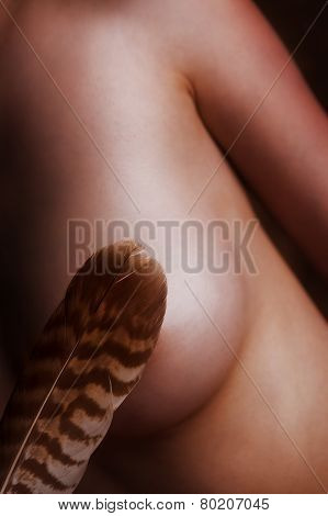 Feather Is Tickling A Naked Breast