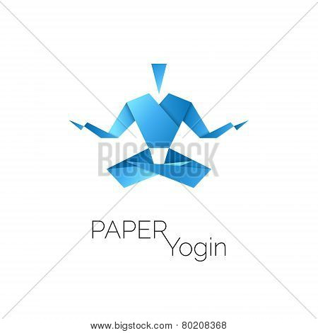 man in origami symbol, lotus position icon, vector illustration