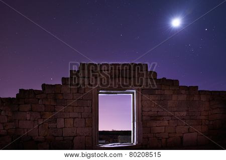 Ruins Of Ancient City Under Blue Night Sky
