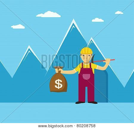 Man With A Bag Of Gold On Its Way Out Mine, Concept On Blue Background With Mountains