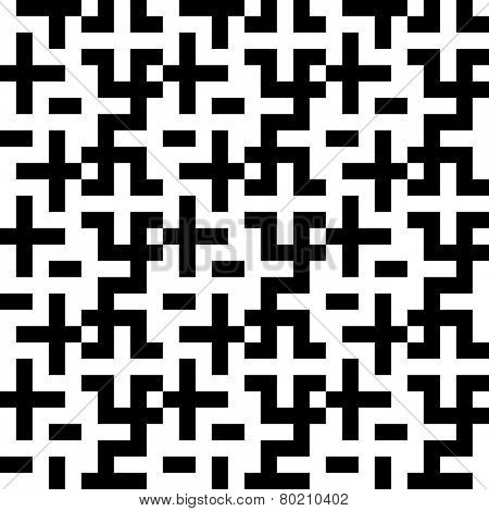 Seamless Cross Pattern. Abstract Black and White Background. Vector Regular Texture