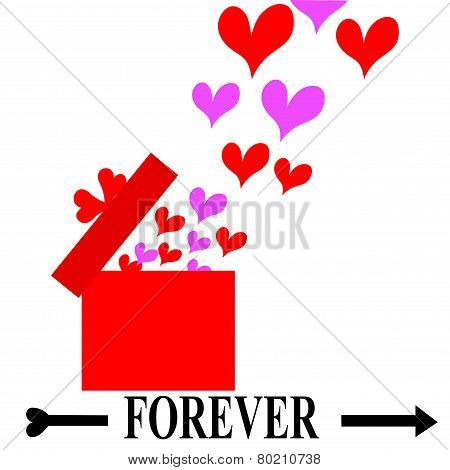Valentine Vector-Floating Hearts Coming From A Red Box