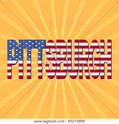 Pittsburgh flag text with sunburst illustration