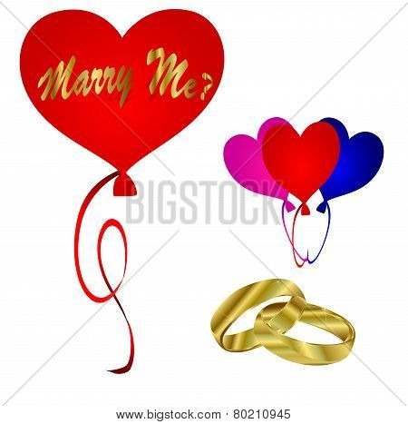 Wedding Vector-Marry Me Balloons