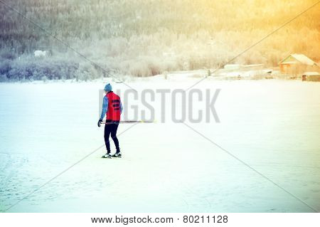 Man Skiing winter time Sport and healthy Lifestyle concept