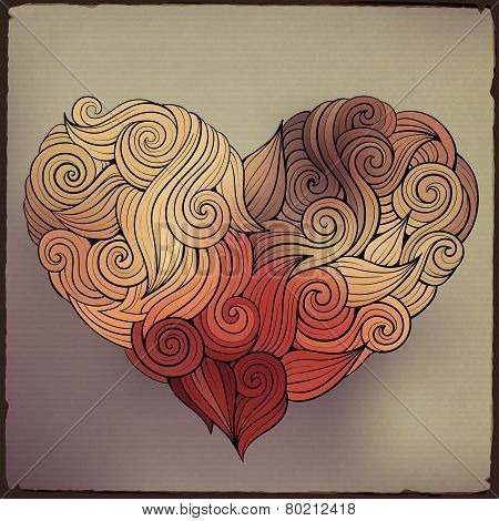 Hand drawn curled vector heart