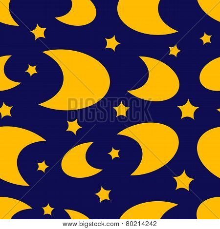 Moon and stars seamless texture