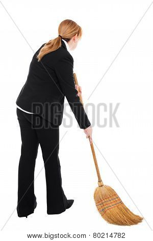 Businesswoman With Broom