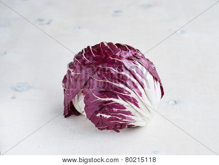 Radicchio Red Salad On Wooden Background. Horisontal