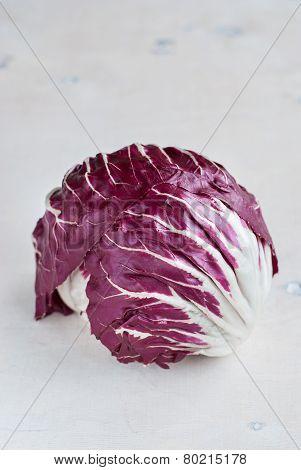 Radicchio Red Salad On Wooden Background. Vertical