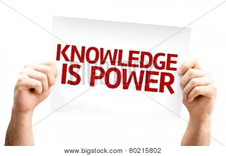 Knowledge is Power card isolated on white background
