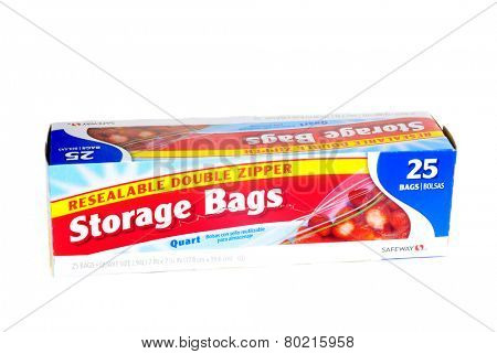 Hayward, CA - January 11, 2015: Packet of 25, quart size Safeway brand resealable double zipper storage bags