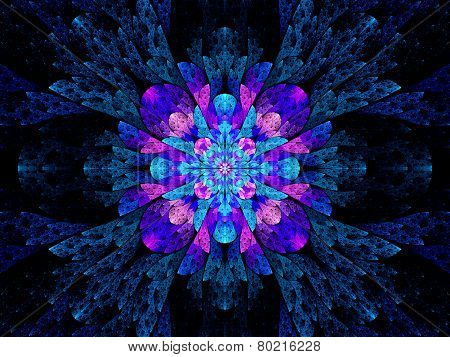 Blue Pink Multicolored Stained Glass Fractal