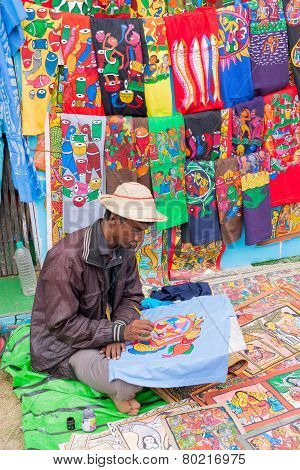 Painted Handmade Clothes, Indian Handicrafts Fair At Kolkata