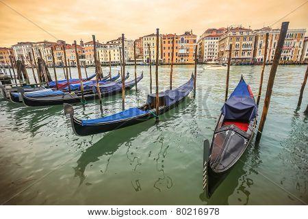 Gondolas Moored At Dock In Venice