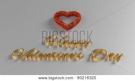 Happy Valentines Day 3D Render With Gold Text And Red Heart
