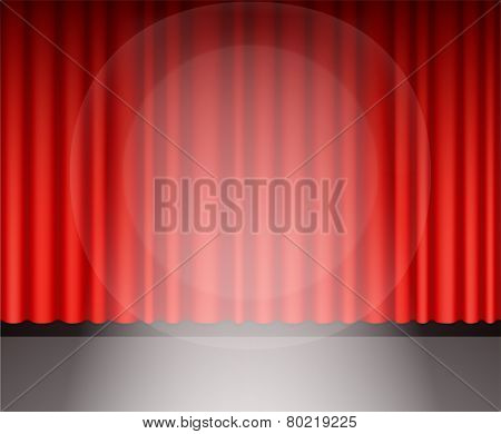 Red Theater Curtain With Light