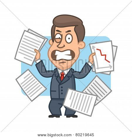 Businessman with papers angry