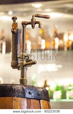 Vintage Tap To Barrel Full Of Alcohol