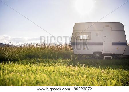 Caravan Trailer On Rural Sunny Setting