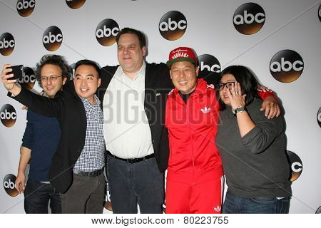 LOS ANGELES - JAN 14:  Jake Kasdan, Randall Park, Jeff Garlin, Eddie Huang, Nahnatchka Khan at the ABC TCA Winter 2015 at a The Langham Huntington Hotel on January 14, 2015 in Pasadena, CA