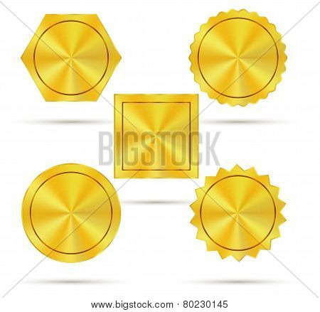 Empty Golden Metal Badges