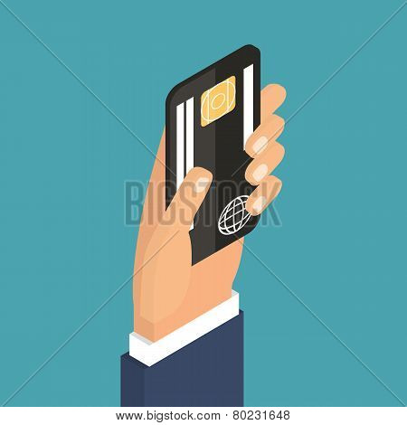 Payment using plastic card, banking, nfc.