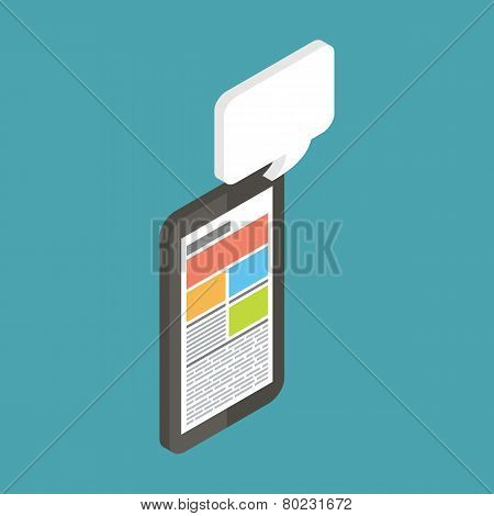 Mobile instant messenger chat, 3d flat isometric vector.
