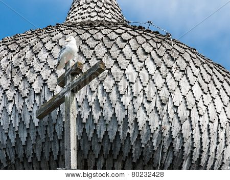 Dome Of Wooden Church In Kizhi, Bird On The Cross