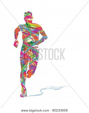 abstract silhouette of man running