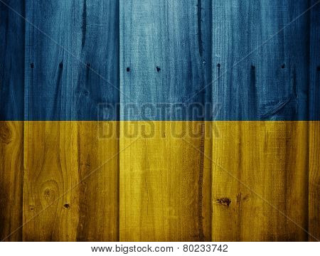 Wooden Texture With Flag