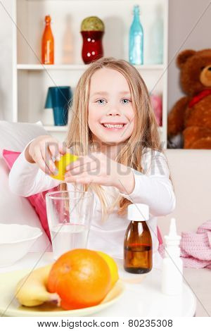 Child Making lemon juice