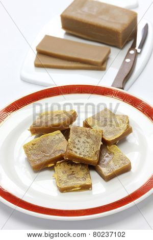 nian gao, chinese new year rice cake, cooked & uncooked