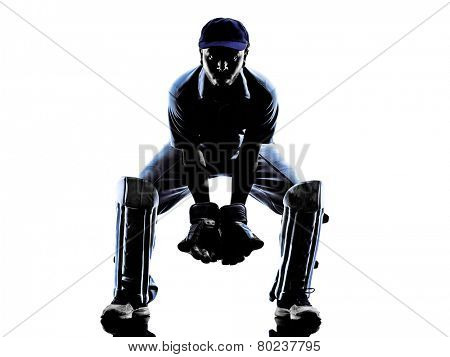 Cricket player reciever in silhouette shadow on white background