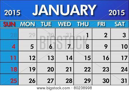 Calendar for January 2015
