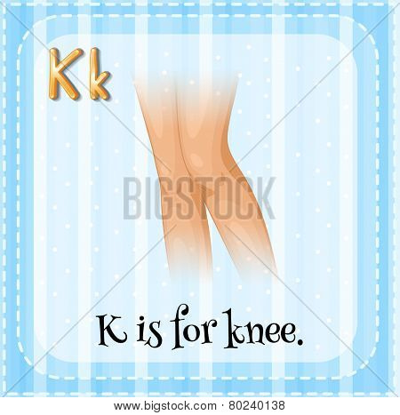 Illustration of an alphabet K is for knee