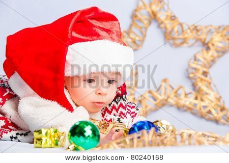 little baby celebrates Christmas