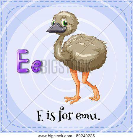 A letter E for emu