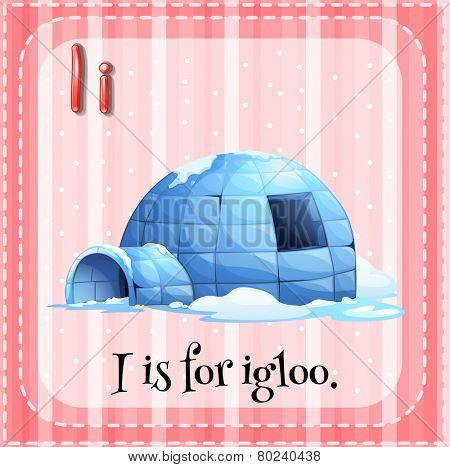 Illustration of an alphabet I is for igloo