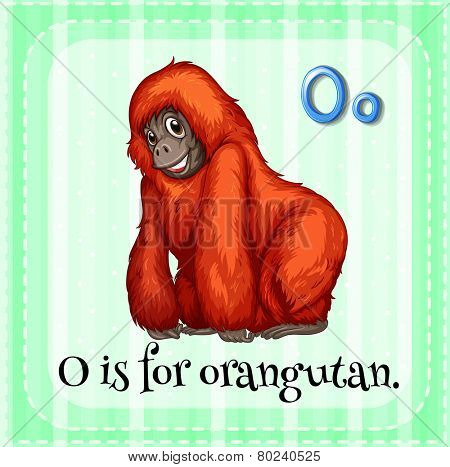 Illustration of a letter O is for orangutan